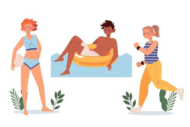 Illustration des activités de plein air d'été