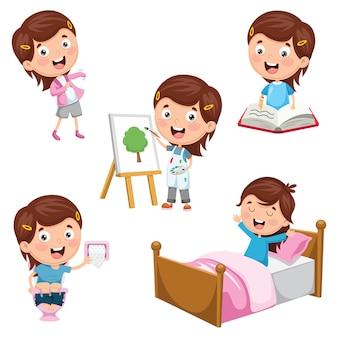 Illustration des activités routinières quotidiennes des enfants
