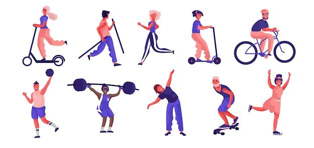 Illustration d'activités sportives de personnes de dessin animé