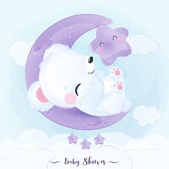 Illustration adorable d'ours polaire à l'aquarelle pour la décoration de pépinière