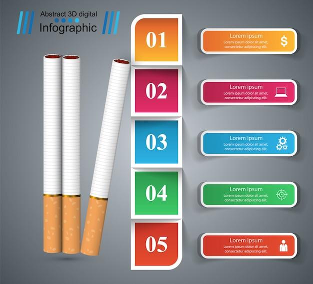 Illustration d'affaires d'une cigarette et des dommages