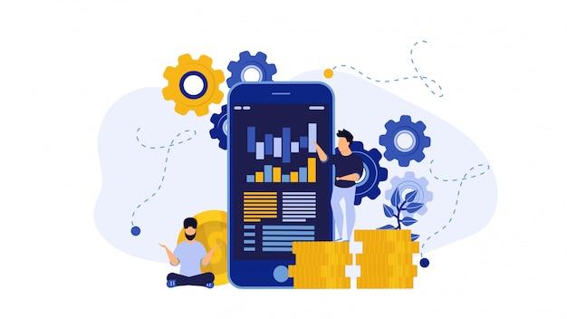 Illustration d'affaires de téléphone compte de prêt de financement numérique.