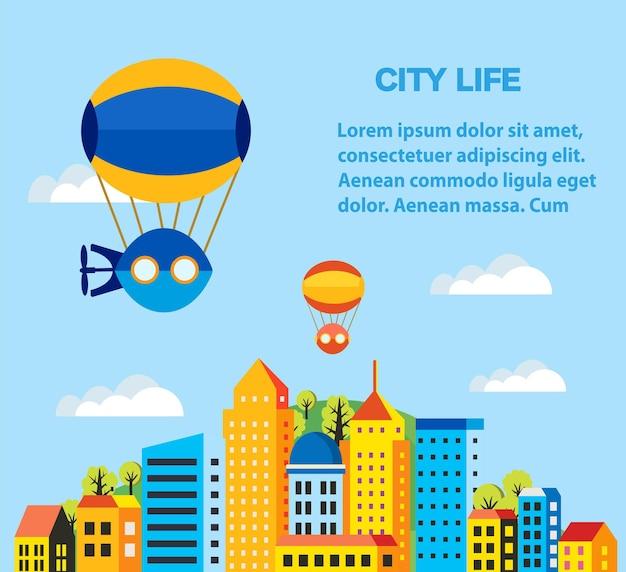 Illustration d'affiche d'un ballon, d'un ballon et d'un dirigeable mignons. illustration couleur du dirigeable et des atouts aéronautiques dans un style plat de la ville.