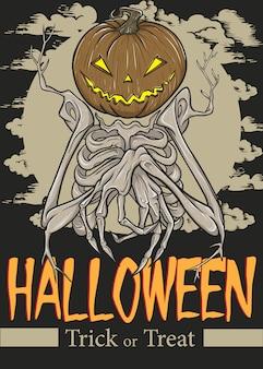 Illustration d'affiche de crâne d'halloween