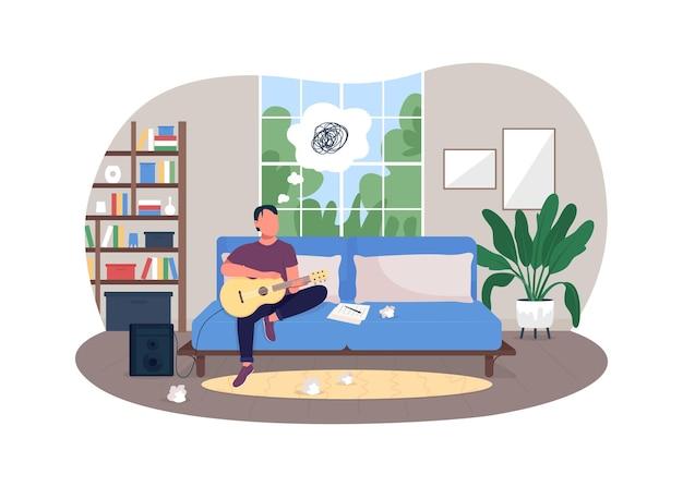 Illustration d'affiche d'épuisement professionnel de musicien