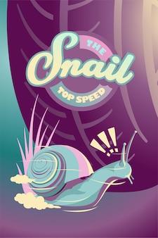 Illustration d'affiche de fantaisie animale escargot