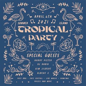 Illustration d'affiche de fête tropicale vintage