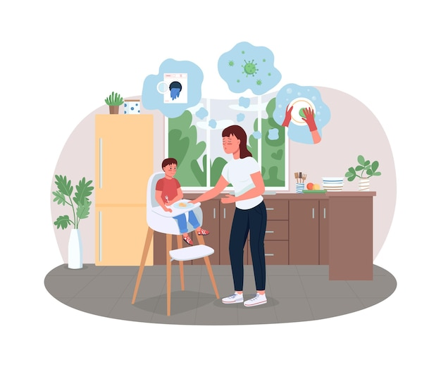 Illustration d'affiche jeune mère stressée