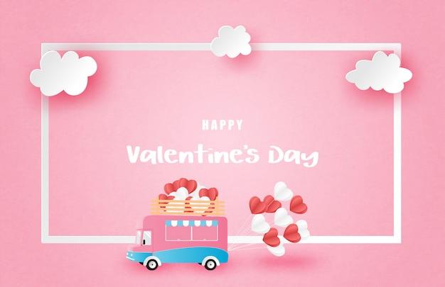 Illustration de l'affiche publicitaire de la saint-valentin d'amour avec van et cadre en style papier découpé.