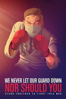 Illustration d'une affiche de sensibilisation pour encourager les agents de santé qui risquent leur vie en première ligne pendant la crise pandémique