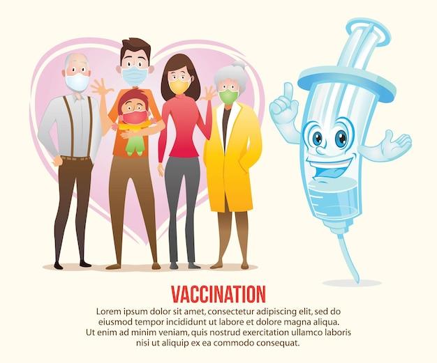 Illustration d'affiche de vaccin familial