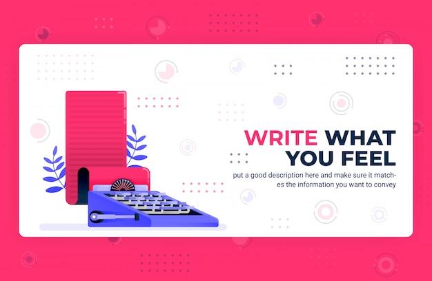 Illustration d'affiche de vecteur d'écrire ce que vous ressentez.