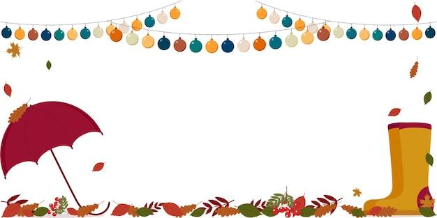 Illustration d'affiche vectorielle avec feuillage d'automne, bottes en caoutchouc, parapluie et place pour le texte