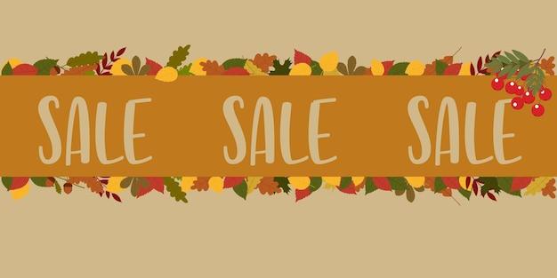 Illustration d'affiche vectorielle avec feuillage d'automne et place pour le texte. vente.