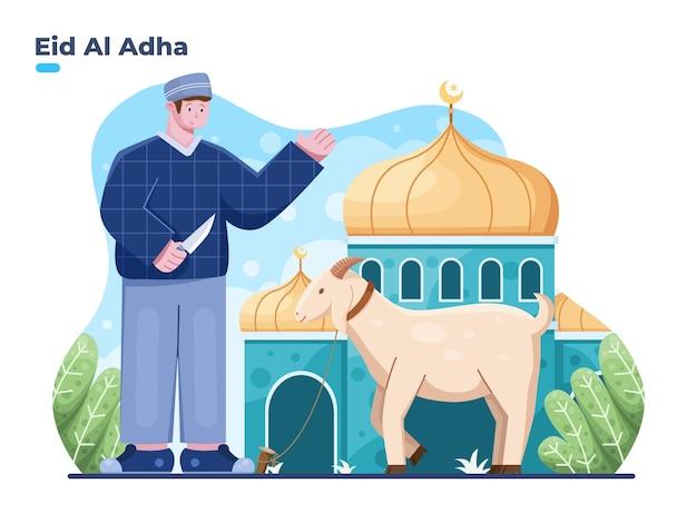 Illustration de l'aïd al adha avec une personne musulmane prête à sacrifier un animal sacrificiel à la mosquée de devant