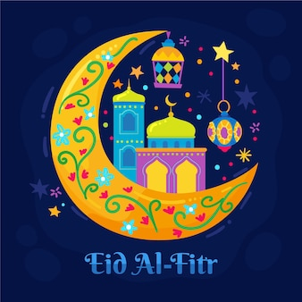Illustration de l'aïd al-fitr dessinée à la main