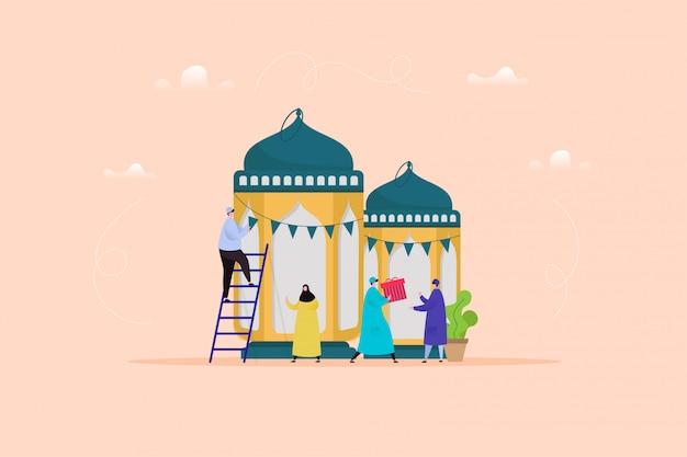 Illustration de l'aïd al fitr avec un personnage moderne