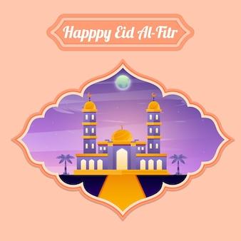 Illustration de l'aïd al-fitr ramadan kareem mosquée aidilfitri