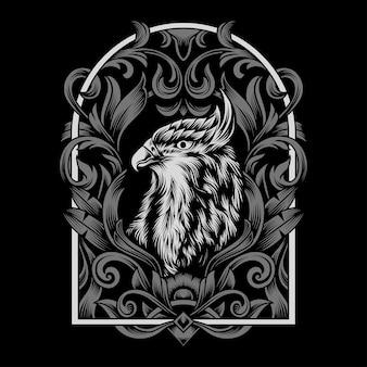 Illustration d'aigle avec cadre d'ornement détaillé