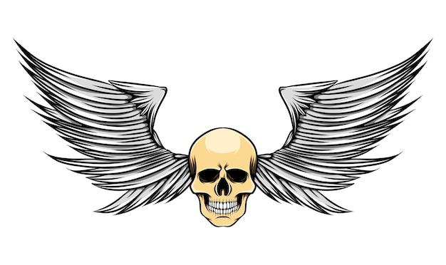 Illustration d'ailes pointues avec tête maigre de crâne mort