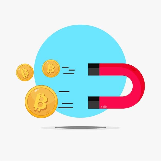 Illustration d'un aimant attirant le bitcoin