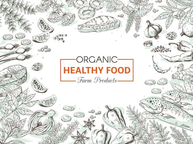 Illustration d'aliments biologiques dessinés à la main
