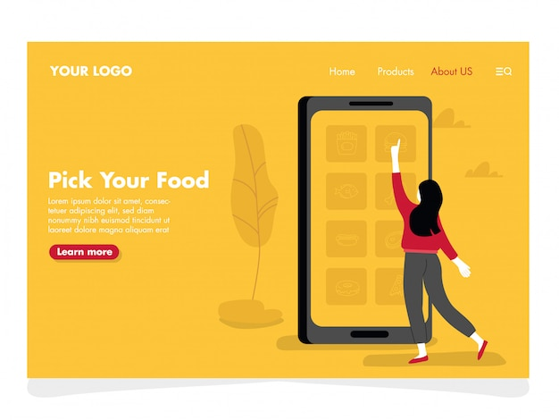 Illustration des aliments en ligne pour la page de destination