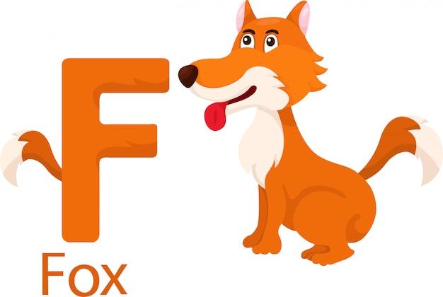 Illustration de l'alphabet animal isolé f avec renard