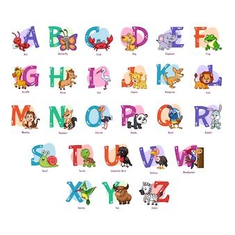 Illustration de l'alphabet animal