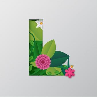Illustration de l'alphabet l faite par des fleurs et des feuilles