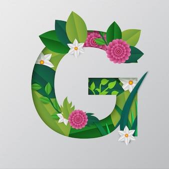 Illustration de l'alphabet g faite par des fleurs et des feuilles