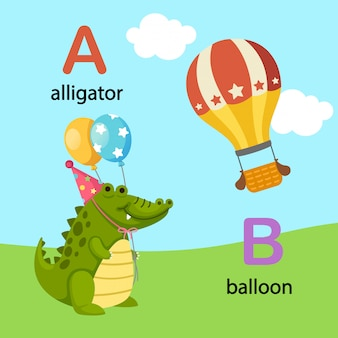 Illustration alphabet isolé lettre a-alligator, b-ballon