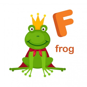Illustration alphabet isolé lettre f grenouille