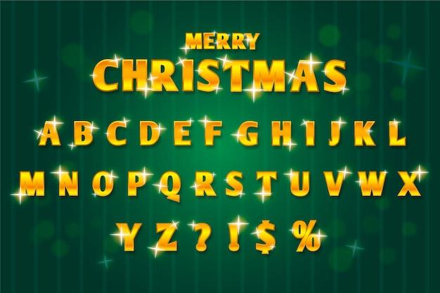 Illustration de l'alphabet de noël étincelant doré