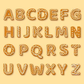 Illustration d'alphabet de noël en pain d'épice