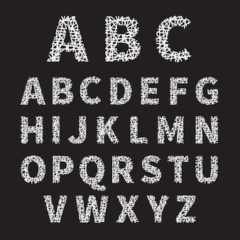 Illustration de l'alphabet police croisée blanche simple sur fond gris.