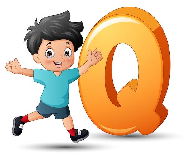 Illustration de l'alphabet q avec un garçon joyeux