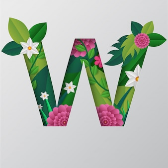 Illustration de l'alphabet w faite par des fleurs