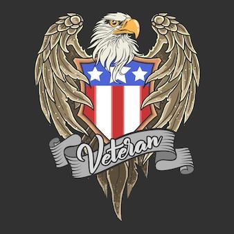 Illustration américaine de mascotte aigle bouclier