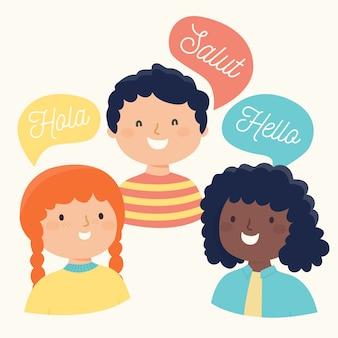 Illustration d'amis disant bonjour dans différentes langues