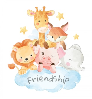 Illustration d'amitié animal mignon