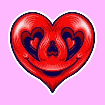 Illustration d'amour de sourire rouge