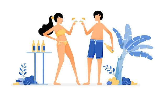 Illustration des amoureux toast un verre de bière en profitant des vacances