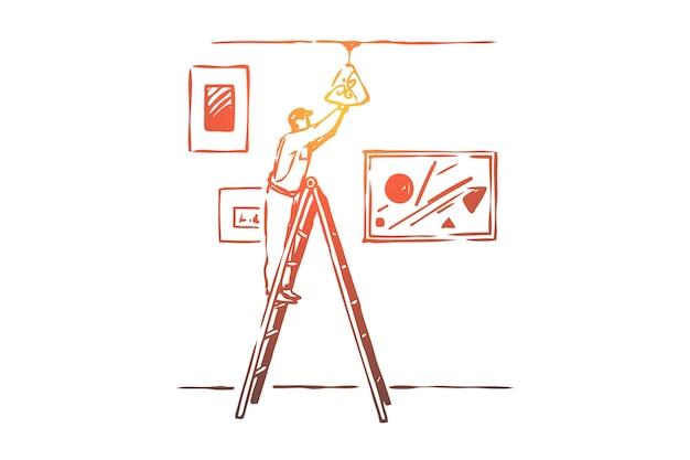 Illustration d'ampoule de changement d'électricien