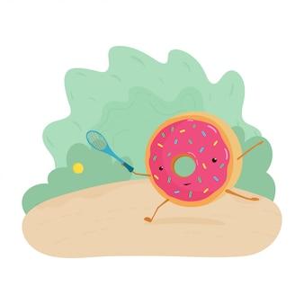 Une illustration amusante d'un beignet jouant au tennis. donut bat la balle avec une raquette de tennis.