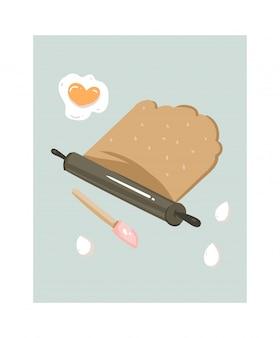 Illustration amusante de temps de cuisson dessiné à la main avec de la pâte enroulée isolé sur fond blanc.
