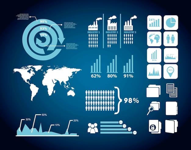 Illustration d'analyse de concurrent avec fond de vecteur infographie