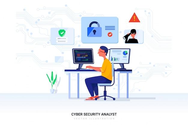 Illustration d'un analyste en cybersécurité