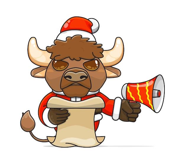 Illustration d'un animal de bison humanoïde unique portant un costume tenant un mégaphone et lisant le script