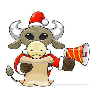 Illustration d'un animal de buffle humanoïde unique portant un costume tenant un mégaphone et lisant le script